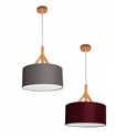 Picture of ANNEX - Fabric Drum Pendants - Wood Look Tops in 40cm (0242-Italux) V & M Imports