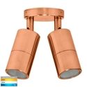 Picture of Exterior Solid Copper 12V Double Adjustable Wall Pillar Light With LED Globes (HV1317MR16T) Havit Lighting
