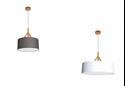 Picture of ANNEX - Fabric Drum Pendants - Wood Look Tops in 60cm (0244-Italux) V & M Imports